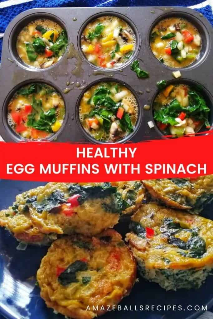 Healthy egg muffins with spinach and mushroom